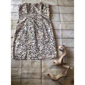 H&M leopard print tube top dress